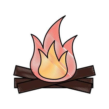 Chaud et chaud feu de joie flamme illustration vectorielle en bois Banque d'images - 88089111