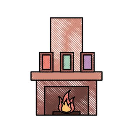 Cheminée cheminée flamme intérieur illustration vectorielle Banque d'images - 88089119