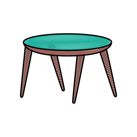 wooden round table furniture decoration vector illustration Illustration