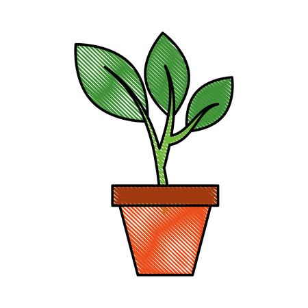 セラミックポットコンセプトベクトルイラストから立ち上る木緑の芽を育てる