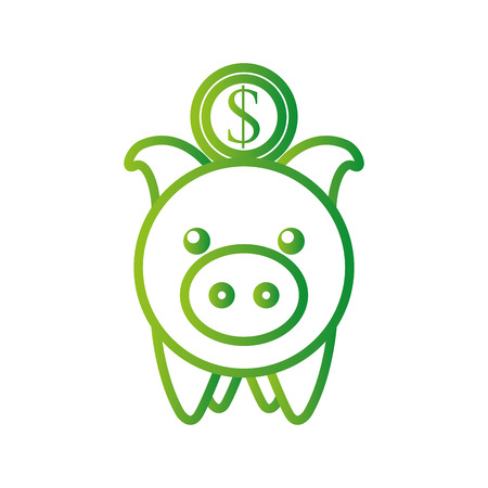 investment piggy coin dollar banking saving vector illustration