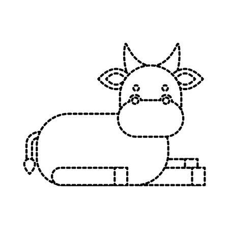 christmas cow animal of manger cartoon vector illustration