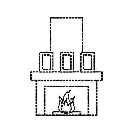 Cheminée cheminée flamme intérieur illustration vectorielle Banque d'images - 88090450