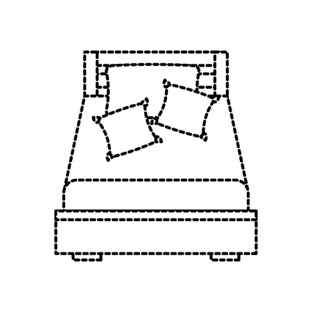 wooden bed with pillow blanket furniture room vector illustration Ilustração