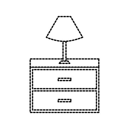 테이블 램프 목조 서랍 가구에 대한 벡터 일러스트 레이션 일러스트