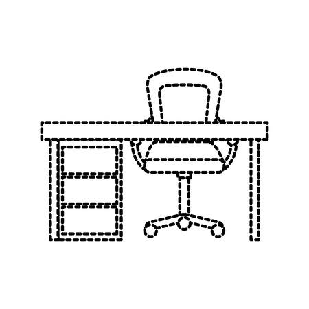 Elementos de trabajo de muebles de escritorio y sillón de madera ilustración vectorial Foto de archivo - 88090455