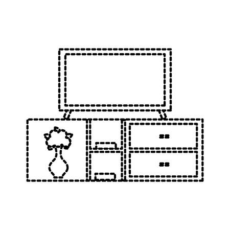 woonkamer binnenlandse TV op houten de boekenplank van de tribunebibliotheek de laden van laden vectorillustratie Stock Illustratie