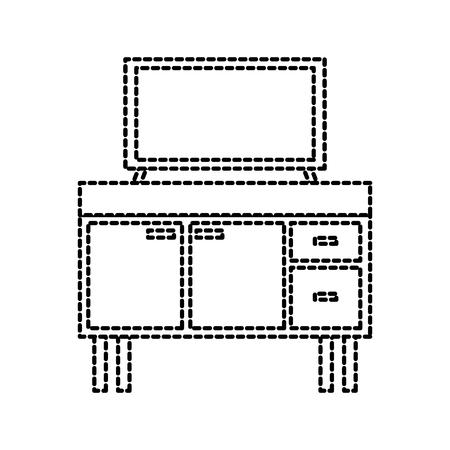 Televisie op houten tafel laden meubels vectorillustratie Stockfoto - 88090377
