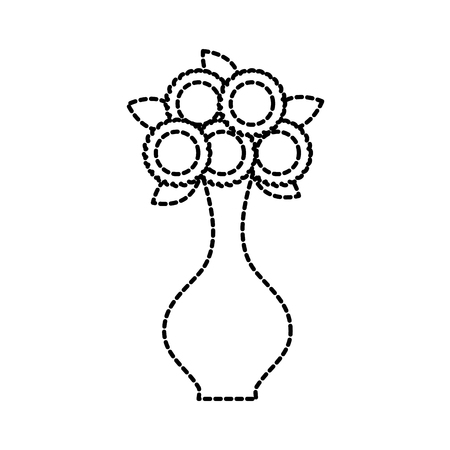bunch of flowers in a vase decoration interior vector illustration