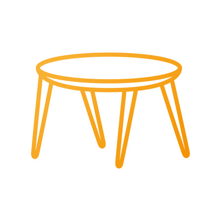 wooden round table furniture decoration vector illustration Çizim