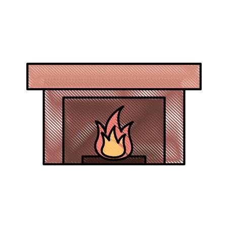 벽난로 굴뚝 불꽃 실내 장식 벡터 일러스트 레이션 일러스트