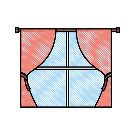 window curtains for house interior decoration style vector illustration