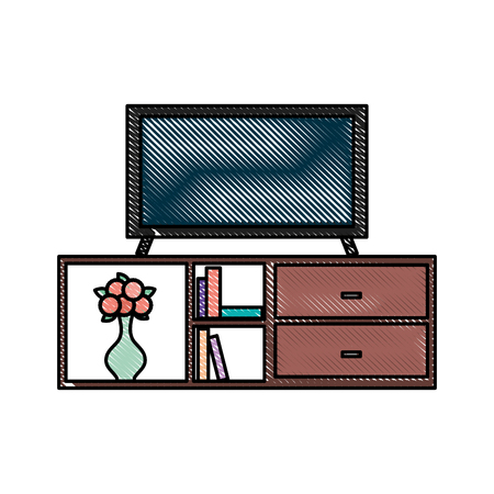 living room interior tv on stand library wooden book shelf flowers drawers vector illustration Ilustrace