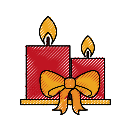 candle christmas flower decoration festive vector illustration Illusztráció