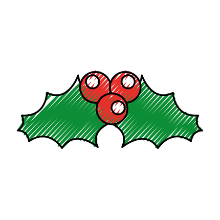 Christmas leaves with holly berry decoration Illustration