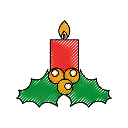 candle christmas flower decoration festive vector illustration Illustration