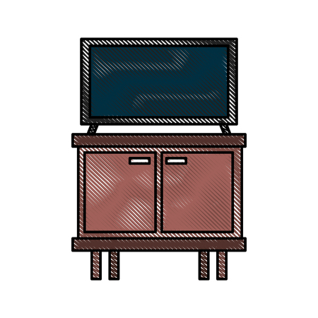 television on wooden table drawers furniture vector illustration