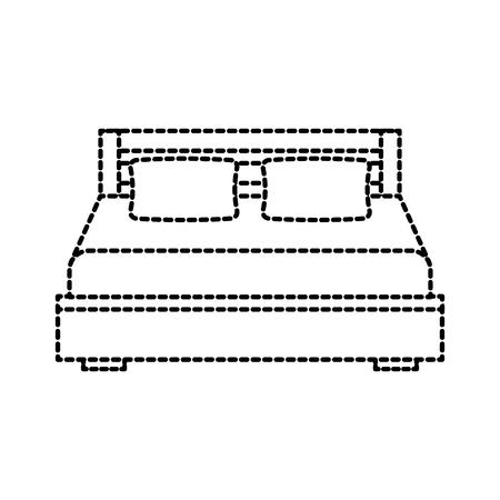 dubbel bed en kussen met deken slaapkamer meubilair vector illustratie