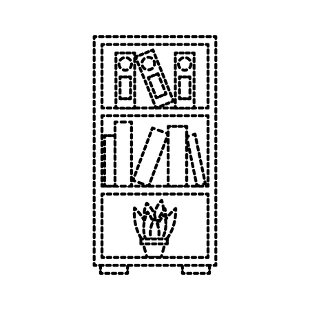 furniture bookcase books folder and pot plant decoration vector illustration Stock fotó - 88090573