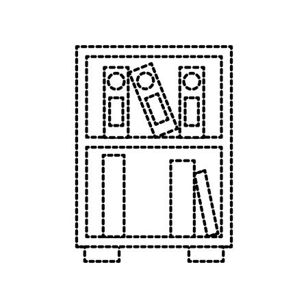 bibliotheek houten boekenkast van gestapelde boeken staande stijl vectorillustratie Stock Illustratie