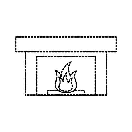 Cheminée cheminée flamme intérieur illustration vectorielle Banque d'images - 88090585
