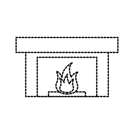 fireplace chimney flame indoor decoration vector illustration
