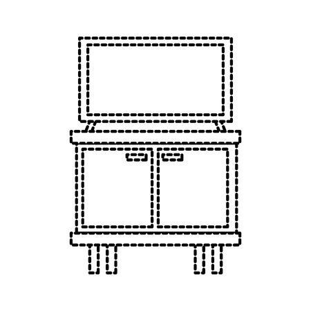 Televisione sul tavolo in legno mobili illustrazione vettoriale di mobili Archivio Fotografico - 88090589