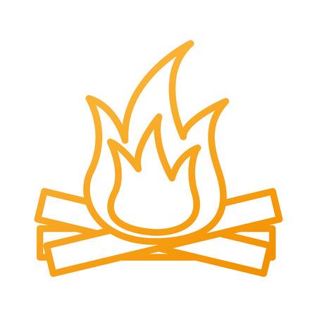 뜨겁고 따뜻한 모닥불 불꽃 나무 벡터 일러스트 레이 션 일러스트