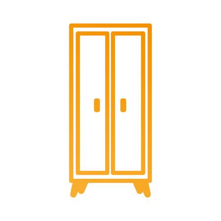 木製のワードローブ家具ホーム装飾アイコン ベクトル図  イラスト・ベクター素材