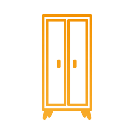 wooden wardrobe furniture home decoration icon vector illustration