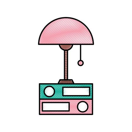 ランプとフォルダーの要素オブジェクトの装飾ベクトル図