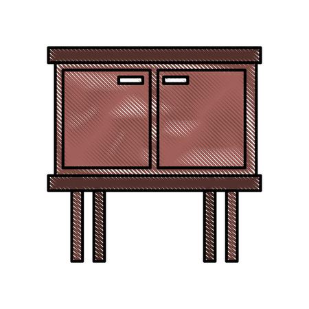 table drawer furniture interior decoration design element vector illustration