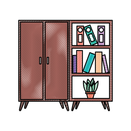 wooden cabinet and bookcase pot with plant vector illustration Illustration