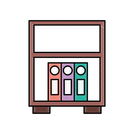 bibliotheek houten boekenkast van bindmiddel staande vectorillustratie Stock Illustratie