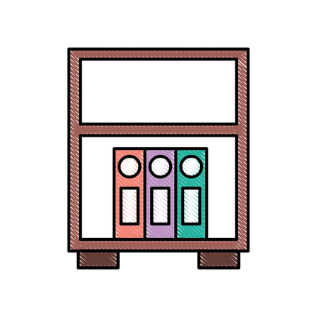 library wooden bookcase of binder standing vector illustration
