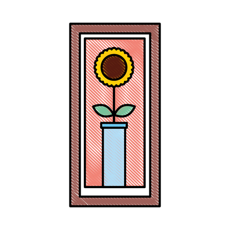 wooden frame with sunflower in vase decoration interior vector illustration Ilustração