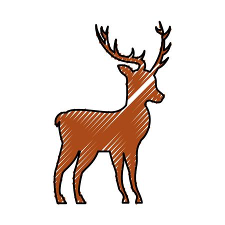christmas reindeer head horned animal decoration vector illustration