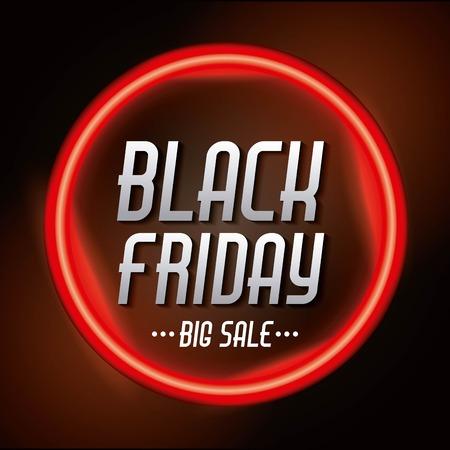 black friday sale inscription on red bright circle banner vector illustration