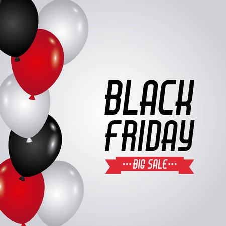 black friday sale red and black and white balloons design vector illustration Ilustrace