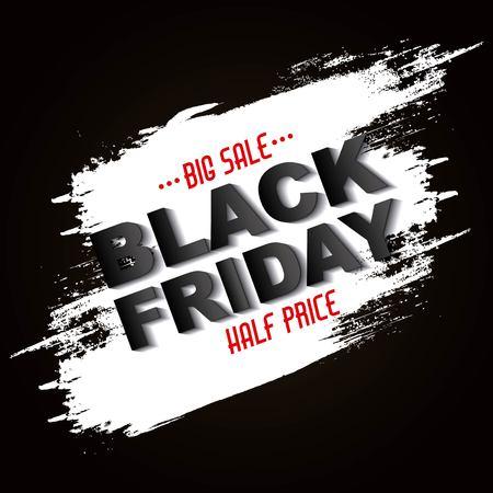 black friday sale half price grunge banner vector illustration
