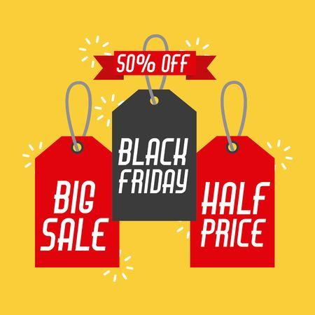 black friday sales tag and banners discount and price design label vector illustration Çizim