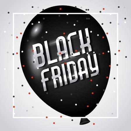 zwarte vrijdag marketing reclame ballon confetti vector illustratie