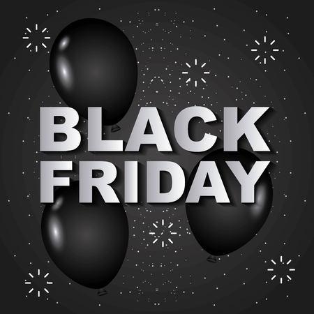 black friday balloons sparkles sale banner design vector illustration Çizim
