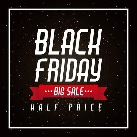 zwarte vrijdag grote verkoop en halve prijs banner poster viering vectorillustratie