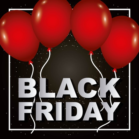 black friday red balloons poster sale shop discount vector illustration