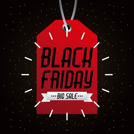 black friday big sale tag marketing inscription prom vector illustration