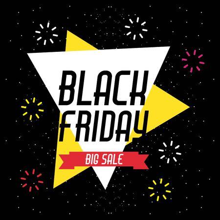 black friday sale banner with explode sparkles vector illustration Ilustração