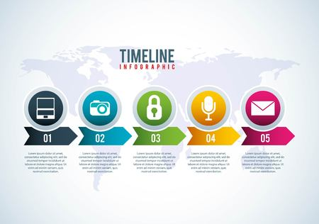 timeline infographic world business network vector illustration