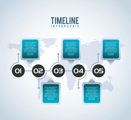 timeline infographic world number in circle options report vector illustration