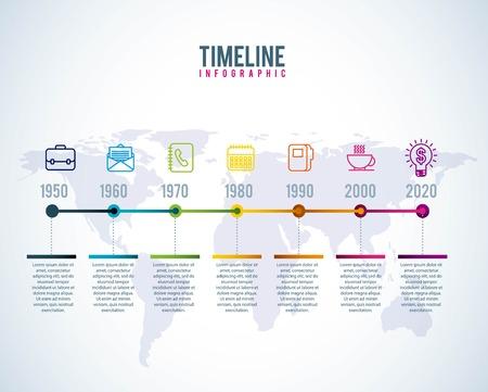 timeline infographic world business progress years diagram vector illustration